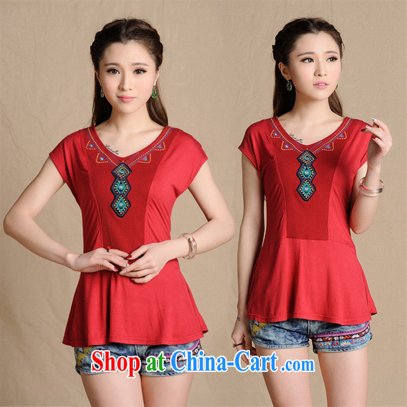 Black butterfly W 8221 National wind female summer new embroidered knocked color does not rule out short-sleeved cultivating T pension wine red 2 XL