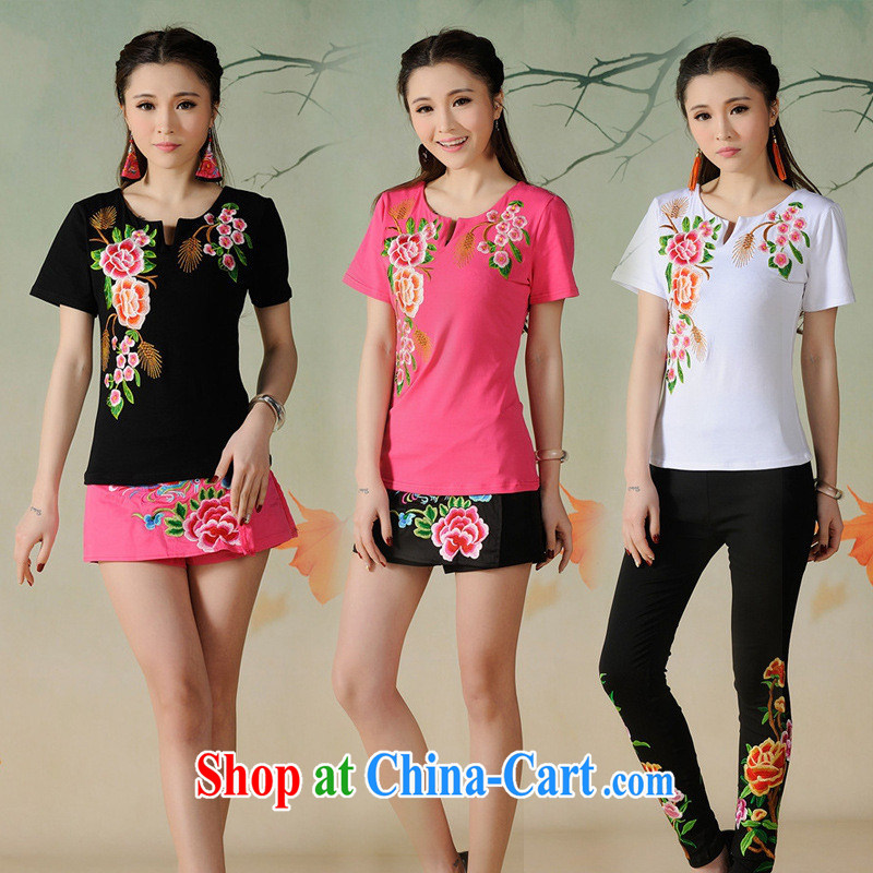 Black butterfly G 2662 National wind women spring and summer new small U collar beautiful embroidered cultivating short-sleeved cotton T ? white 3XL