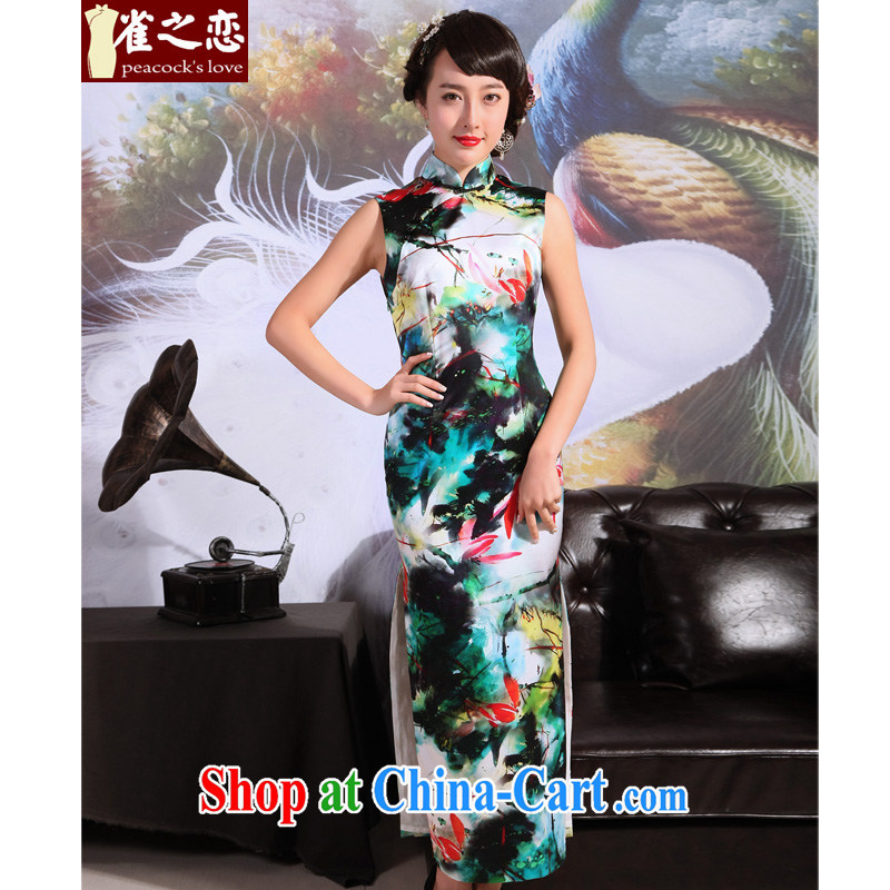 Bird lovers of Pi-color prettier 2015 new summer cheongsam dress silk retro long cheongsam dress, Color prettier sleeveless XXL