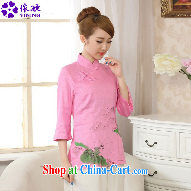 Under the fuser and stylish new retro improved Chinese blouses Classic tray snap hand-painted Sau San Tong load short-sleeve T-shirt LGD_A 0076 _ -B pink 2 XL