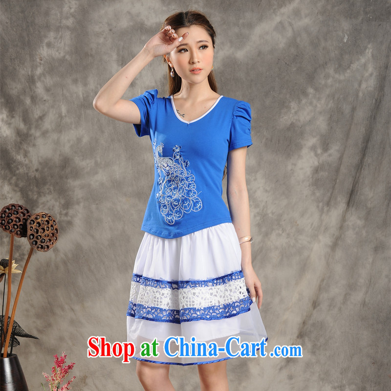 Black butterfly G 2801 National wind female summer, pixel color Peacock embroidery cotton round-collar short-sleeve T ? girls blue 2 XL