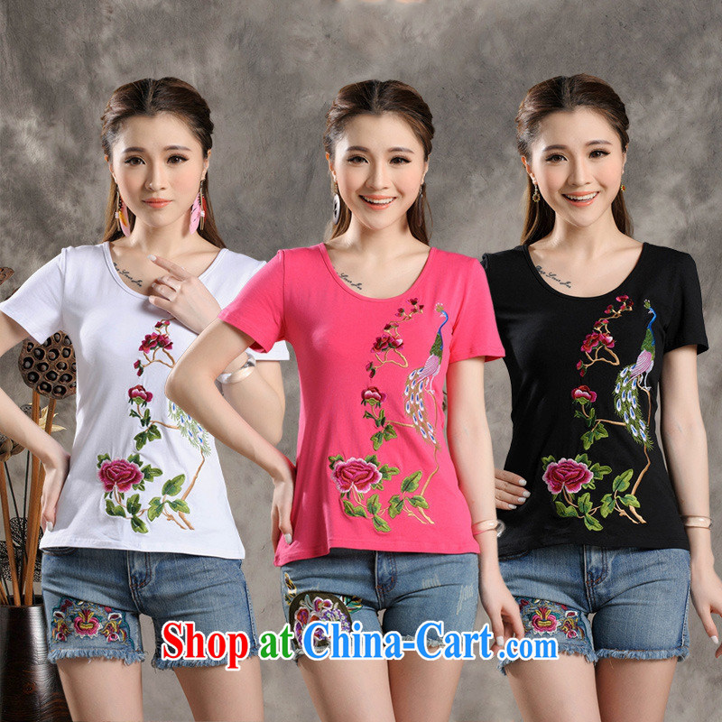 Black butterfly Y 7311 National wind women summer new round-collar beauty embroidered short sleeve pure cotton T shirts of red 4 XL