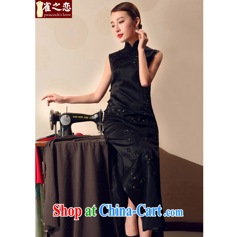Birds love the MGM 2015 summer new traditional Full heavy silk embroidered cheongsam dress Black - Pre-sale 15 days XXL
