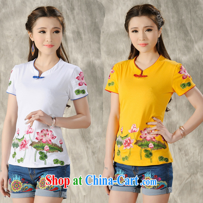 Black butterfly X 3505 National wind women spring and summer new paragraph for the embroidery is withholding cultivating short-sleeved cotton shirt T yellow 4 XL