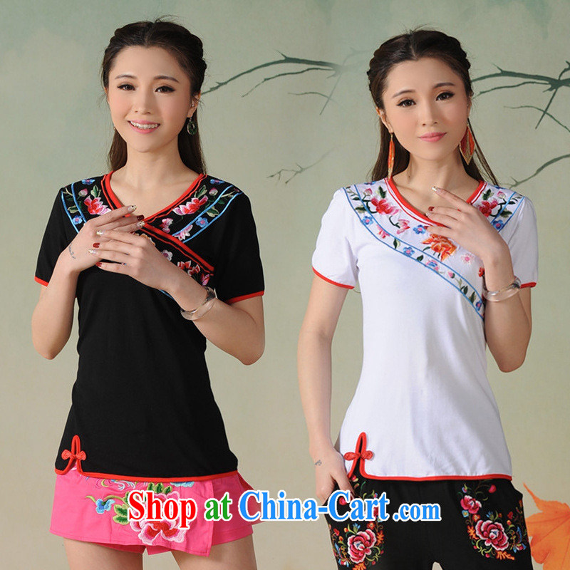 Black butterfly G 2712 National wind women spring and summer new V collar embroidered under the truck on the buckle cotton T ? black XL