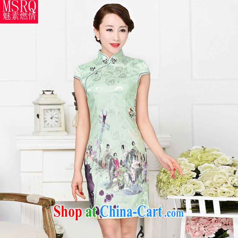 Quality of fuel and 2015 retro beauty click the Snap Chinese collar half sleeve on the truck cheongsam stylish stamp dresses beauty pipa spend XXL