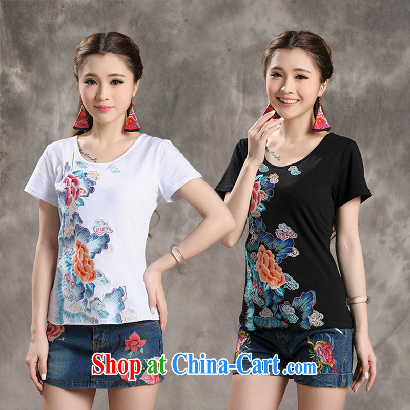 Black butterfly W 8712 National wind women new summer landscape, flower embroidery with cultivating short-sleeved T pension white 3XL