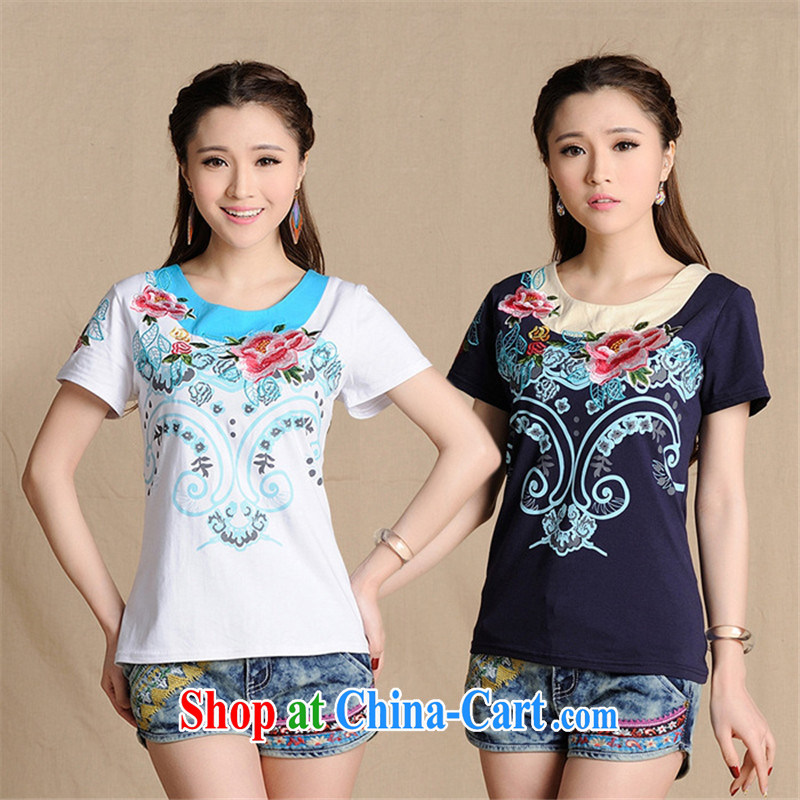 Black butterfly W 8229 National wind female summer new embroidered + stamp duty stitching with cultivating short-sleeved cotton T white 2XL