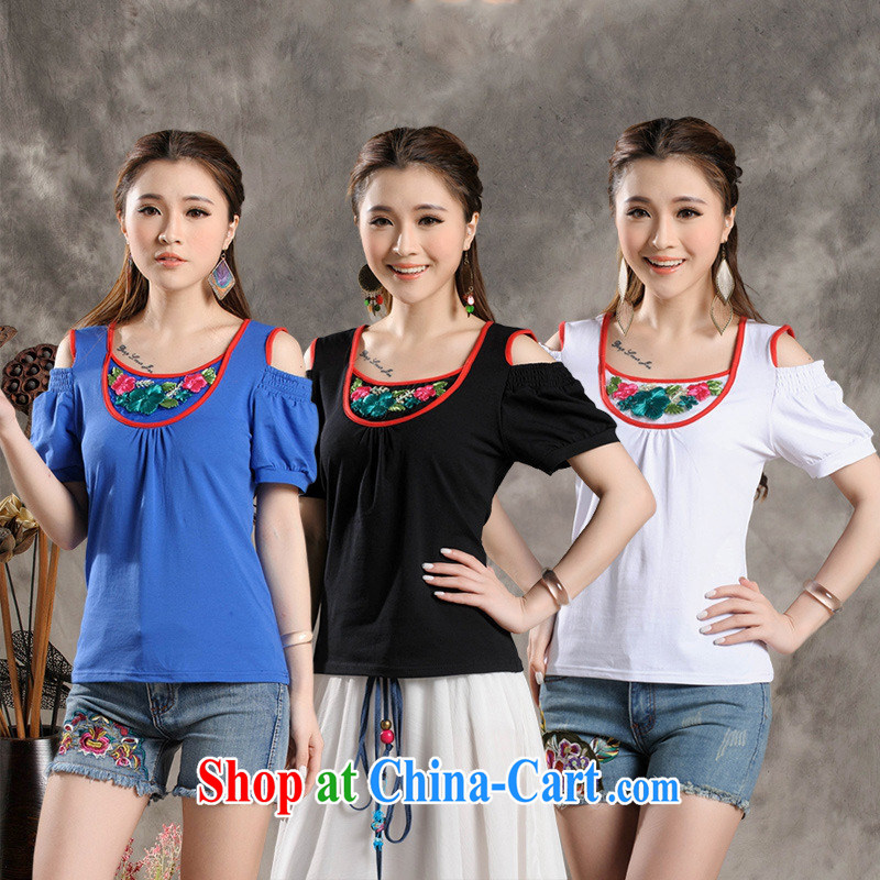 Black butterfly Y 7302 National wind female summer new three-dimensional flower stitching your shoulders short-sleeved cultivating cotton T pension black 4XL