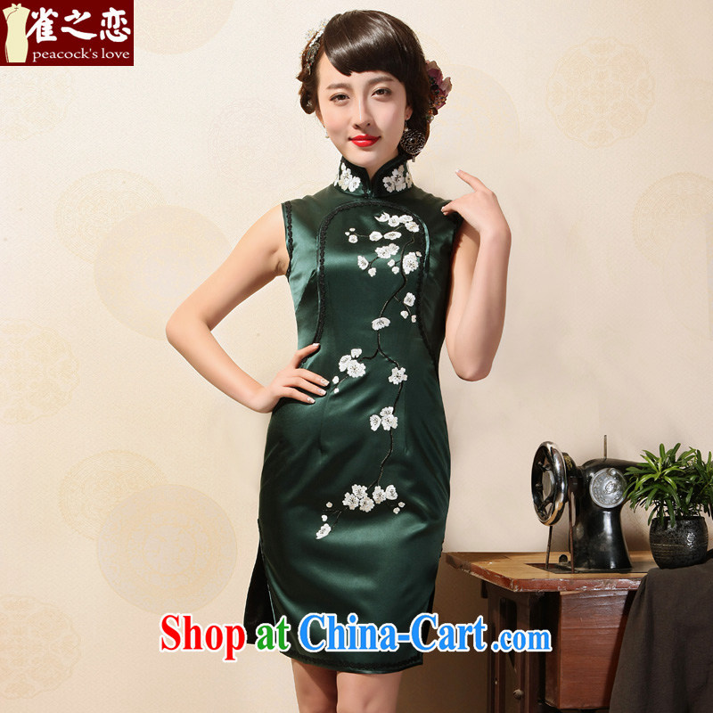 Birds of summer 2015 with new, the collar embroidered cheongsam manually Push embroidered heavy silk short sleeves cheongsam dress dark green XL