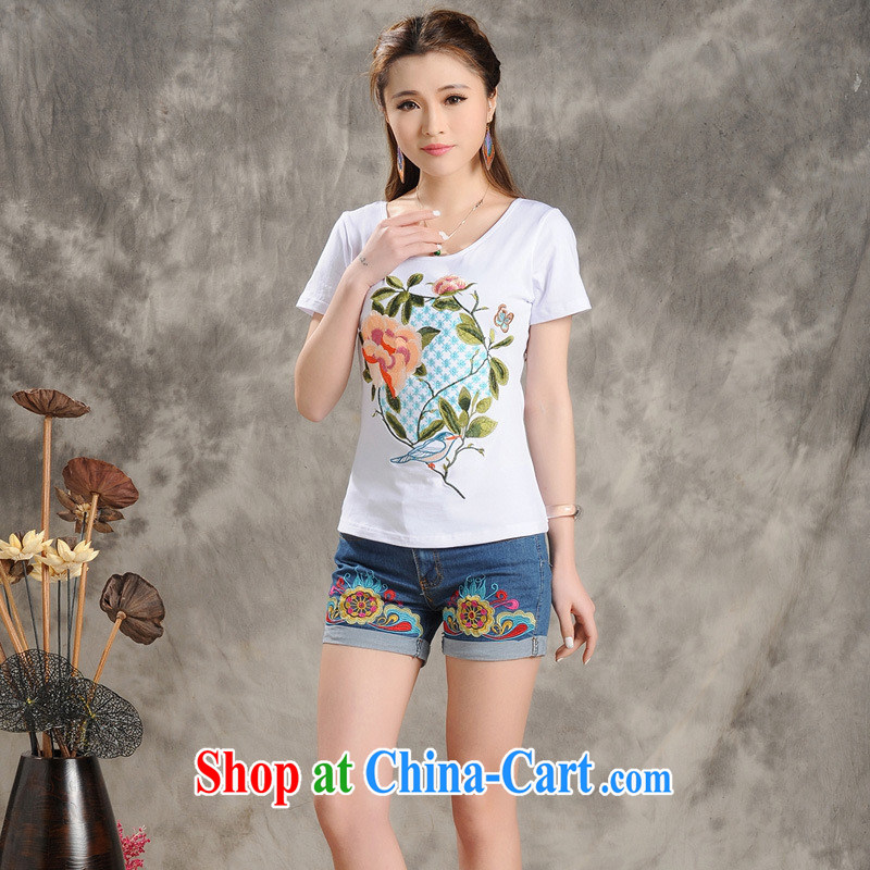 Black butterfly MX 9206 National wind women spring and summer new round-collar beauty embroidered short sleeve cotton shirt T white 2XL