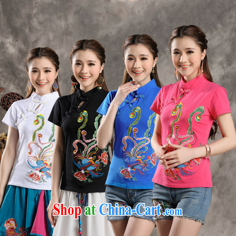 Black butterfly Y 7309 National wind female summer new, for cultivating embroidery is a hard disk for a short-sleeved shirt T blue 4 XL