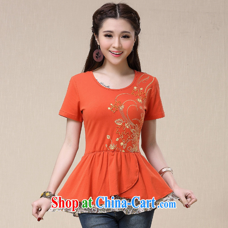 Black butterfly BL 8569 National wind women Pearl nail stamp flouncing with 100 ground cultivating stitching T pension female orange 3 XL