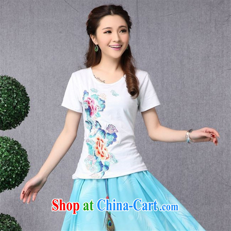 Black butterfly NQ 8599 National wind women spring and summer new Pure Cotton embroidered with cultivating short-sleeved shirt T white 2XL
