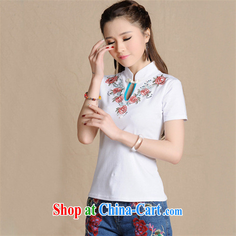 Black butterfly L 5911 National wind women spring and summer new, for embroidery, short-sleeved beauty T cotton shirt white 2XL