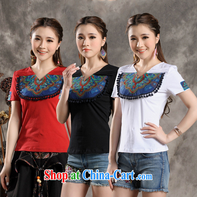 Black butterfly Y 7301 National wind women summer new spell color overlay, embroidered beauty short-sleeved cotton shirt T red 4 XL