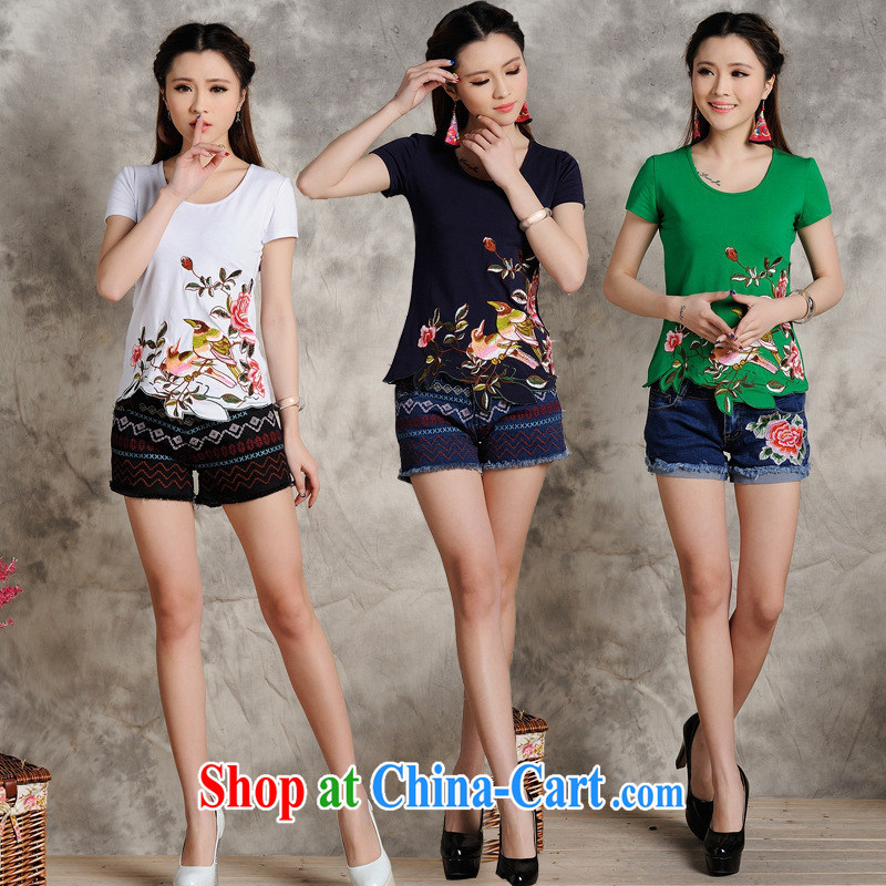 Black butterfly S 108 Ethnic Wind female spring and summer new embroidered Not Rule is cultivating short-sleeved cotton shirt T the red 4 XL