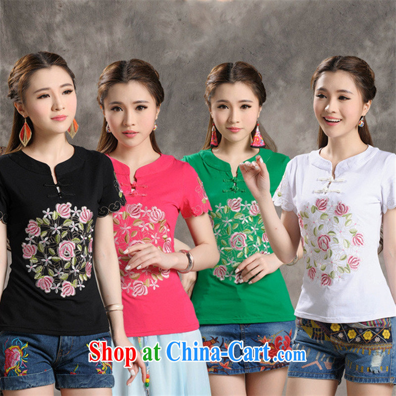 Black butterfly W 8238 National wind girls summer with new, for cultivating embroidered a field for short-sleeved cotton shirt T green 3 XL