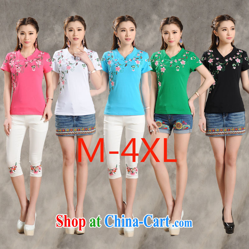 Black butterfly MX 9204 National wind women summer new, for a tight embroidered cultivating short-sleeved cotton shirt T green 4 XL