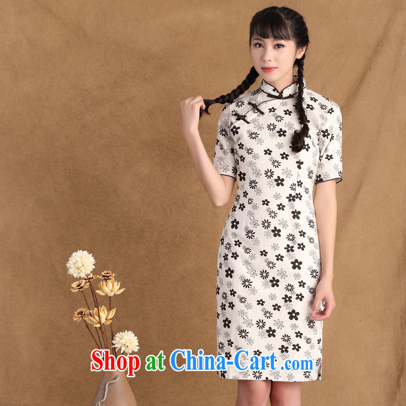 The Yee-Windsor only Fujing Qipai New Literature and Art Nouveau style cotton Ma daily improved cheongsam ethnic wind linen cheongsam dress ctb JZ 396 2 XL