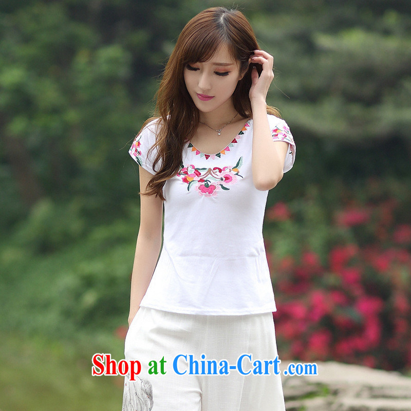 Black butterfly XC 8127 National wind women, summer round-collar short-sleeve embroidered cotton casual shirt T white 2XL