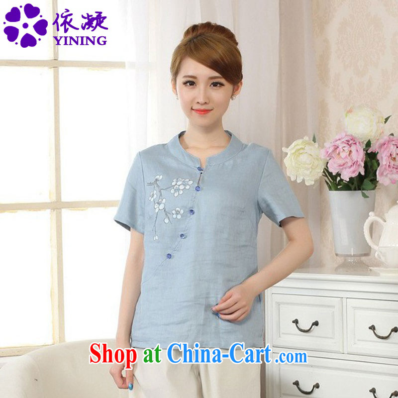 Under the fuser and stylish new retro name ethnic-Chinese improved blouses hand-painted Sau San Tong with a short-sleeved T-shirt LGD_A _0075 figure 2 XL