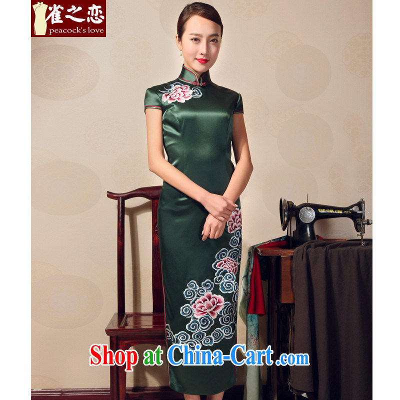 Birds love 2015 summer new elegant Chinese Antique long cheongsam heavy silk embroidered cheongsam QD 698 dark green XXL