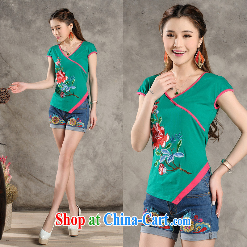 Black butterfly Y 7318 National wind female summer new V collar spell color embroidered asymmetric with short-sleeve cotton shirt T green 4 XL
