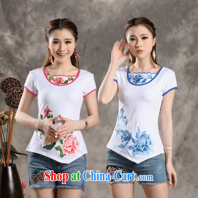 Black butterfly Y 7305 National wind Women's collar embroidered not rules, with a short-sleeved cotton cultivation T shirt white blue 4 XL