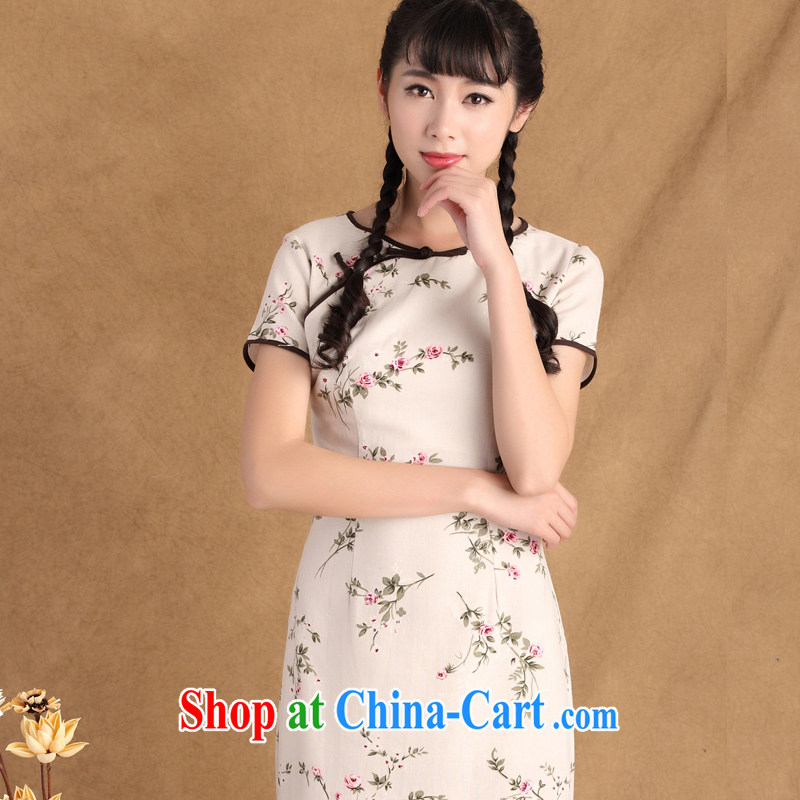 The cross-sectoral overnight Elizabeth dust 2015 spring new Ethnic Wind retro style improved manual tray buckle long cotton the cheongsam dress ctb KK 438 L