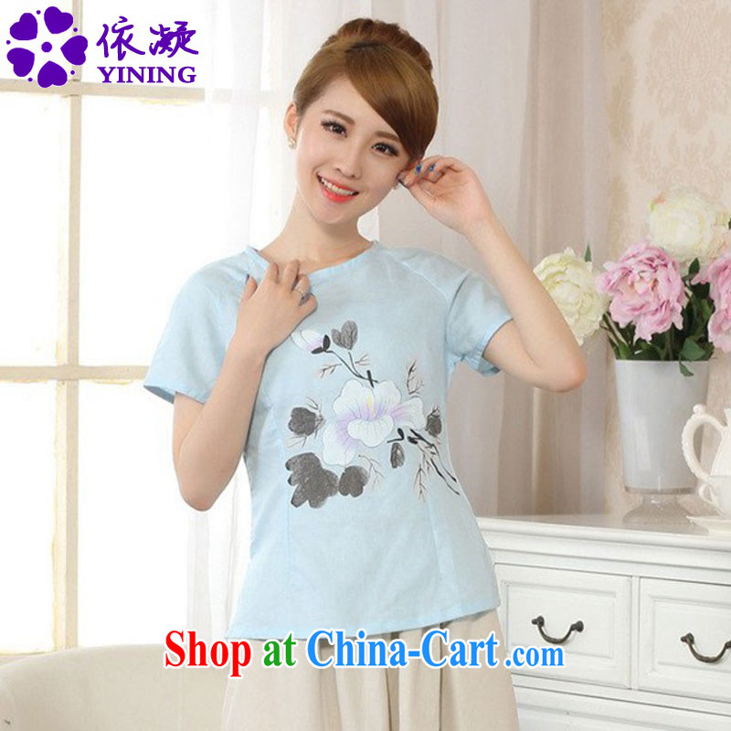 According to fuser new Ethnic Wind women retro improved short-sleeved cotton Ma hand-painted Chinese T-shirt LGD/A #0074 figure 2 XL