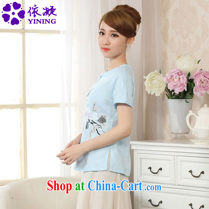 According to fuser new Ethnic Wind women retro improved short-sleeved cotton the hand-painted Chinese T-shirt LGD/A #0074 figure 2 XL, fuser, and shopping on the Internet