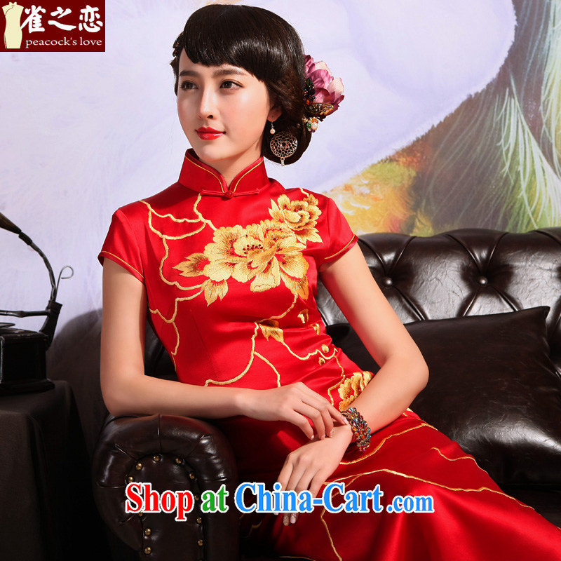 Birds love 2015 summer new Chinese Antique embroidered long marriages served toast red cheongsam QD 699 red XXL