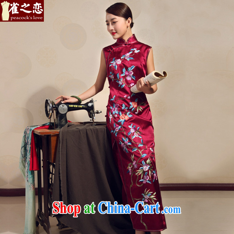 Birds love 2015 summer new manual embroidery improved stylish heavy silk long cheongsam red XXL