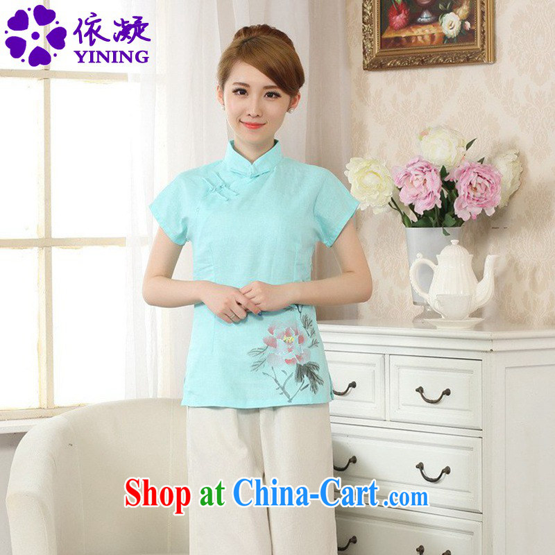 According to fuser new Chinese Ethnic Wind female hand-painted improved cheongsam shirt cotton the linen Chinese T-shirt LGD_A 0069 _ -C Lake blue 2 XL