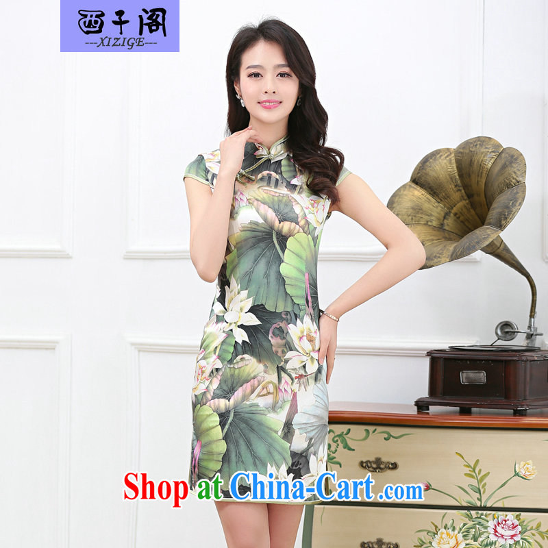The sub-cabinet 2015 summer new female Silk Cheongsam dress sauna silk long skirt short-sleeved stamp floral larger female mom with dress, and lotus pond XL