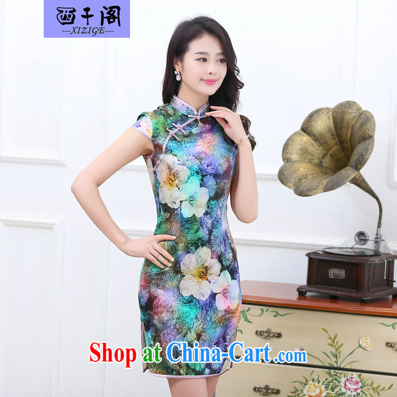 The sub-cabinet 2015 summer new women's clothing is silk cheongsam dress sauna silk long skirt short-sleeved stamp floral large code female mom with dress, spring 7 color XXL