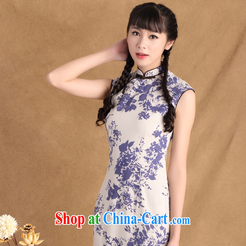 The absence of Elizabeth's extreme 2015 summer sleeveless and collar retro Ethnic Wind and stylish cotton in the Commission Long cheongsam dress ctb QP 783 2 XL