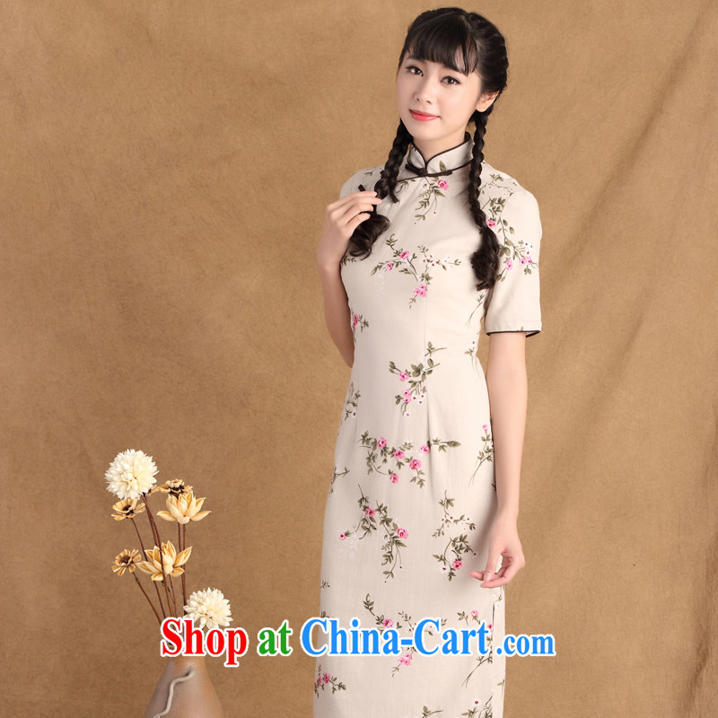 The Yee-sa 2015 spring new ethnic wind antique dresses stylish improved hand-buckle long cotton the cheongsam dress sz ctb 790 XL