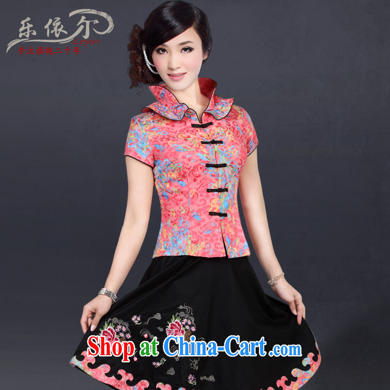 And, in accordance with female short-sleeved Kit summer cultivating Chinese large code, for female Chinese LYE 2817 pink short-sleeve T-shirt + skirt s