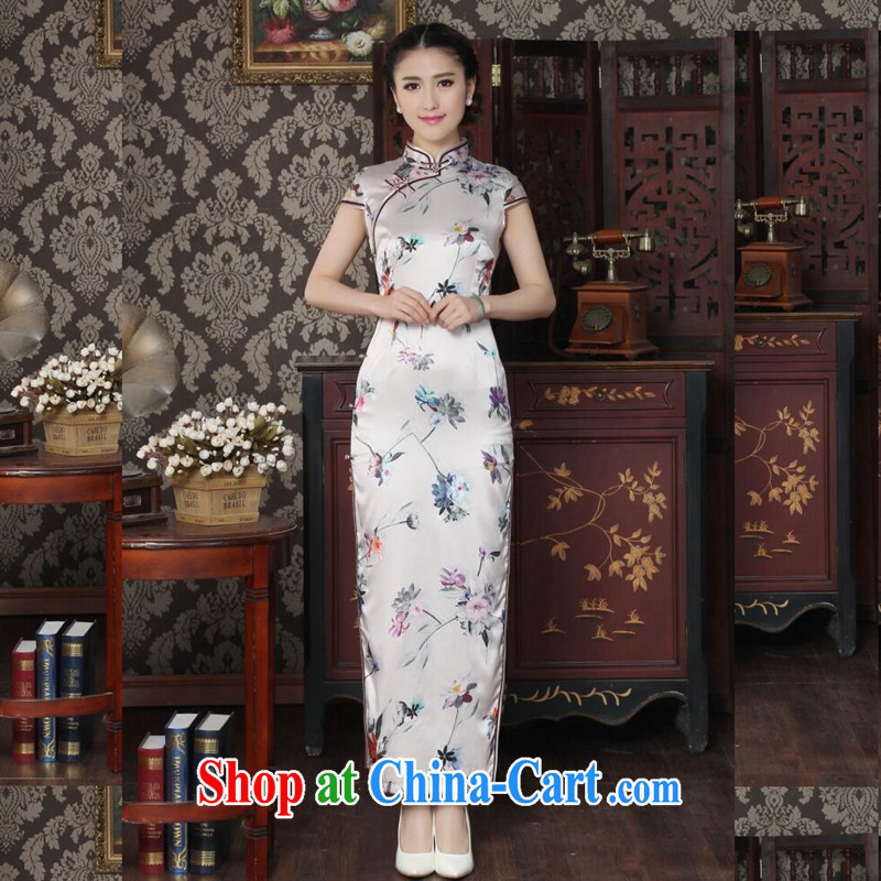 Take the silk long cheongsam Chinese improved, for summer simple dos santos cheongsam silk and pink retro dinner long robes and pink 2XL
