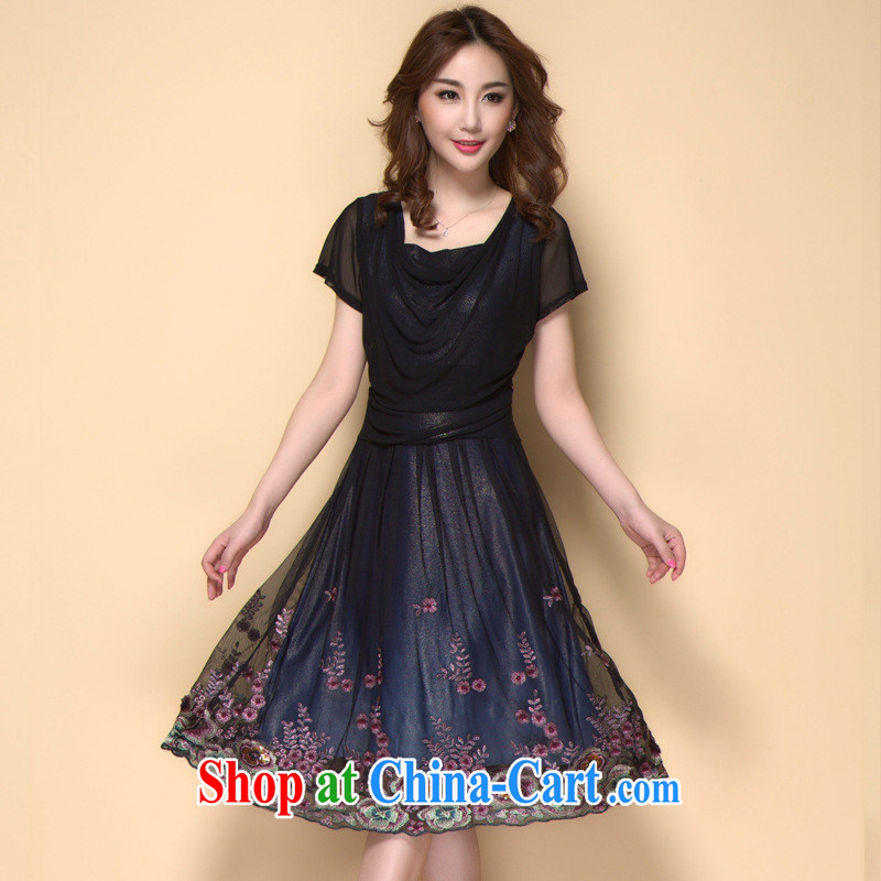 Ya-ting store 2015 spring and summer new, good quality and the embroidery short-sleeved dresses girls in older mothers with elegant dresses red XXXXL