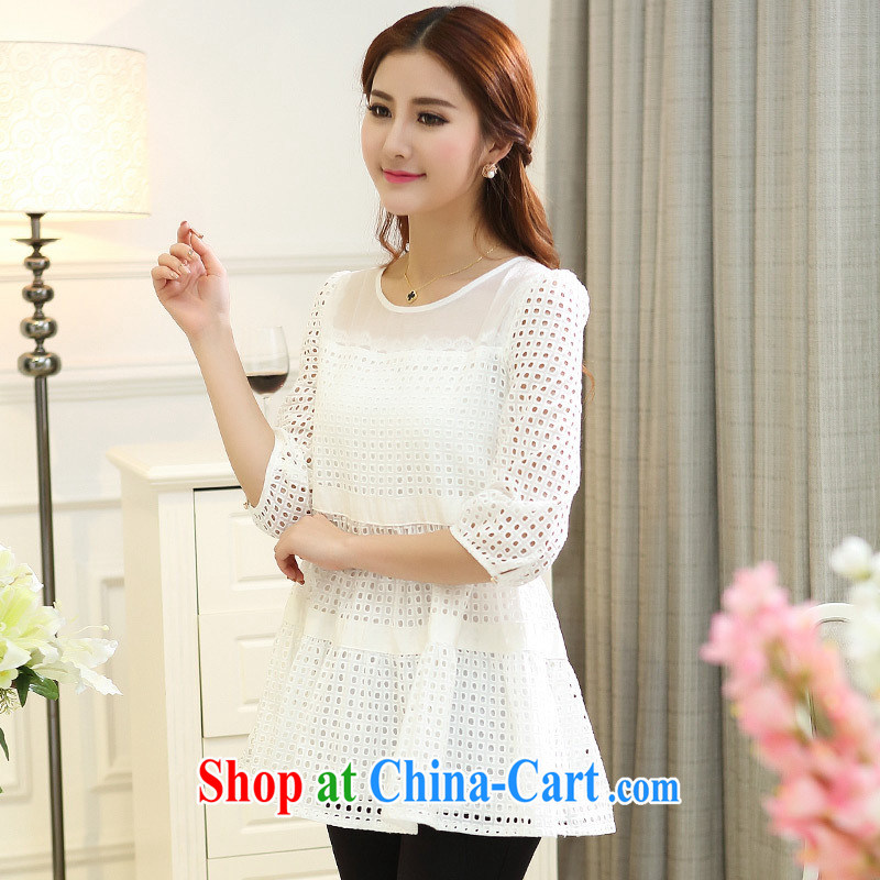 Ya-ting store spring 2015 XL female spring mm thick 7 cuff Openwork sweet T shirt T-shirt woman white 4XL