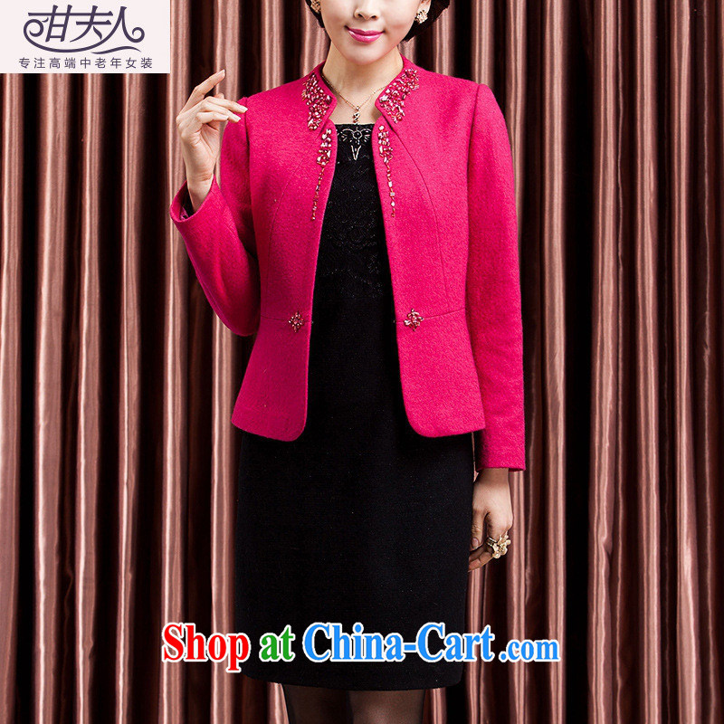 Ya-ting store 2014 autumn and winter dress two-piece in the autumn and winter New Fleece dress Kit Mother of red 4 XL