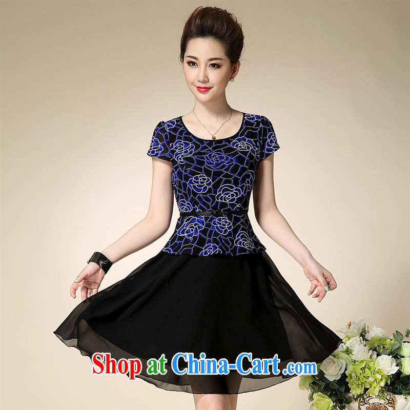 Ya-ting store summer 2015 new middle-aged and older women with large code elegance mother load snow woven dresses blue 3 XL