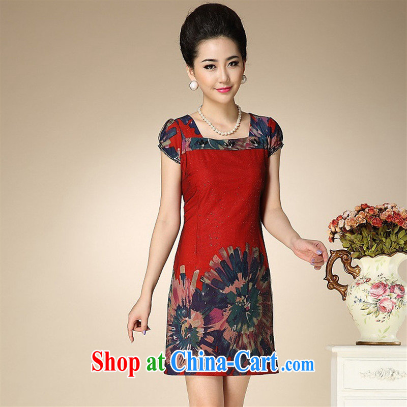 Ya-ting store 2015 new middle-aged and older female summer short-sleeved Stamp Set skirt mother load dresses red XXXL