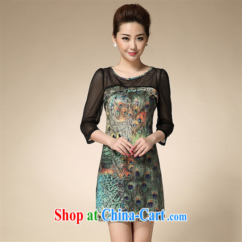 Ya-ting store summer 2015 new, older women is the mother load snow stamp duty woven dresses picture color 4 XL