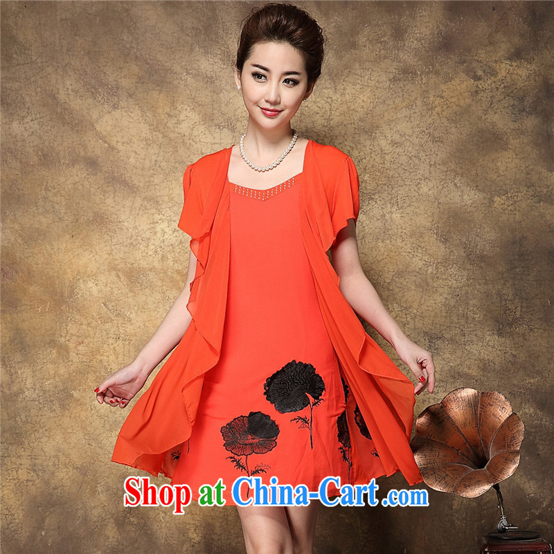 Ya-ting store 2015 summer new, older female mother false 2 embroidery dresses wholesale orange black spend a lot code L