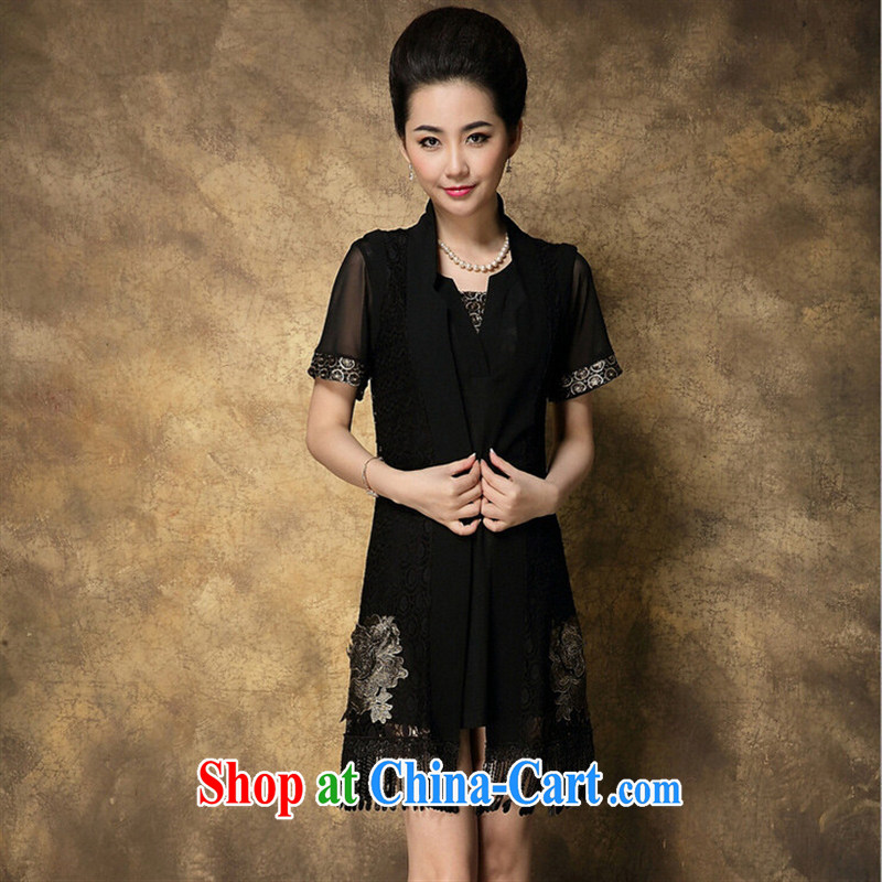 Ya-ting store 2015 summer new elderly in the Code as well as high-end graphics thin two-piece embroidered Web dress girls black XXXXL