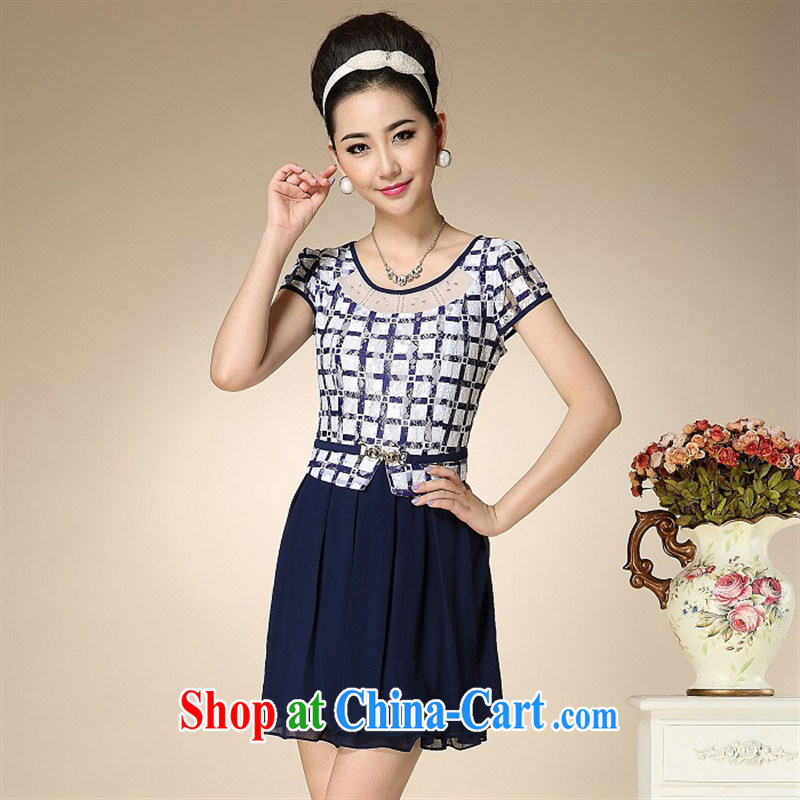Ya-ting store summer 2015 new, older dresses style lace mother load XL dresses patterned 4 XL